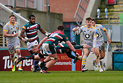 Wasps Fly-half Charlie Atkinson makes a break during a Gallagher Premiership Round 10 Rugby Union match, Friday, Feb. 20, 2021, in Leicester, United Kingdom. (Steve Flynn/Image of Sport)