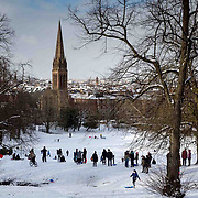 Schools are closed and people are out having fun in the snow in Queens Park, Glasgow.<br /> Picture Robert Perry  23rd Feb 2018<br /> <br /> Must credit photo to Robert Perry<br /> FEE PAYABLE FOR REPRO USE<br /> FEE PAYABLE FOR ALL INTERNET USE<br /> www.robertperry.co.uk<br /> NB -This image is not to be distributed without the prior consent of the copyright holder.<br /> in using this image you agree to abide by terms and conditions as stated in this caption.<br /> All monies payable to Robert Perry<br /> <br /> (PLEASE DO NOT REMOVE THIS CAPTION)<br /> This image is intended for Editorial use (e.g. news). Any commercial or promotional use requires additional clearance. <br /> Copyright 2014 All rights protected.<br /> first use only<br /> contact details<br /> Robert Perry     <br /> 07702 631 477<br /> robertperryphotos@gmail.com<br /> no internet usage without prior consent.         <br /> Robert Perry reserves the right to pursue unauthorised use of this image . If you violate my intellectual property you may be liable for  damages, loss of income, and profits you derive from the use of this image.