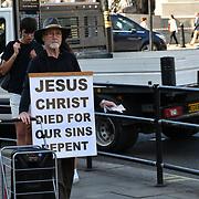 UK Weather - The Hottest week in June 2019, a man Preaching Jesus Christ in Trafalgar Square, on 27 June 2019, London, UK