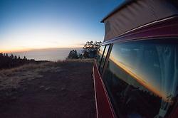 Window View from Volkwagen Eurovan, Plaskett Ridge, Los Padres National Forest, Big Sur, California, US