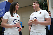Dylan Hartley, the England captain sharing a joke with Sarah Hunter, the England Women's captain ahead of the RBS Six Nations 2017 media launch at the Hurlingham Club, Ranelagh Gardens in London on Wednesday 25th January 2017.<br /> pic by John Patrick Fletcher, Andrew Orchard sports photography.