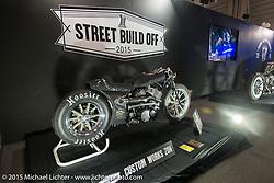 Custom Works Zon's  entry in the Harley-Davidson Street 750 Build Off at the Mooneyes Yokohama Hot Rod & Custom Show. Yokohama, Japan. December 6, 2015.  Photography ©2015 Michael Lichter.
