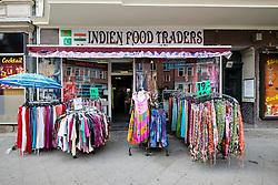 Indian shop on Karl Marx Strasse in multicultural district of Neukolln in Berlin Germany