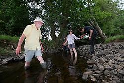 UK ENGLAND WALES LLANERFYL 1JUL15 - Crayfish sampling by volunteers in a tributary steam to the Banwy river near Llanerfyl, Wales, in the river Severn catchment area.<br /> <br /> jre/Photo by Jiri Rezac / WWF UK<br /> <br /> © Jiri Rezac 2015