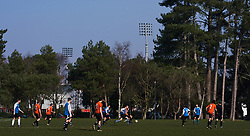 Saturday morning football matches taking place as the floodlights of the Vitality Stadium overlook them before the Premier League match at the Vitality Stadium, Bournemouth.
