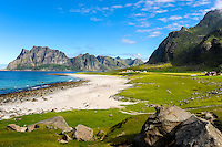 Norway, Lofoten. Uttakleiv on Vestvågøy have some of the best beaches in Lofoten.