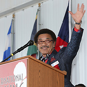 CANASTOTA, NY - JUNE 14: Boxer and inductee Yoko Gushiken speaks during the induction ceremony at the International Boxing Hall of Fame induction Weekend of Champions events on June 14, 2015 in Canastota, New York. (Photo by Alex Menendez/Getty Images) *** Local Caption *** Yoko Gushiken