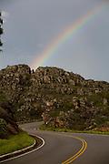 Diamantina_MG, Brasil...Circuito Estrada Real. Na foto arco-iris na rodovia BR367 em Diamantina. ..The Real Road (Estrada Real) Circuit, In this photo a rainbow in the highway BR 367 in Diamantina...Foto: LEO DRUMOND / NITRO