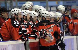 Team of Acroni Jesenice at ice hockey match Acroni Jesencie vs EC Pasut VSV. in EBEL League,  on November 23, 2008 in Arena Podmezaklja, Jesenice, Slovenia. (Photo by Vid Ponikvar / Sportida)