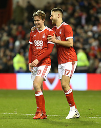07 January 2018 FA Cup 3rd round Nottingham - Nottingham Forest v Arsenal - Ben Brereton celebrates his first penalty goal with Kieran Dowell (20).<br /> (photo by Mark Leech)