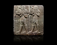 Hittite monumental relief sculpted orthostat stone panel of a Procession Basalt, Karkamıs, (Kargamıs), Carchemish (Karkemish), 900-700 B.C.  Anatolian Civilisations Museum, Ankara, Turkey. Young male servants of Kubaba while carrying sacrificial animals on their shoulders. <br /> <br /> Against a black background. .<br />  <br /> If you prefer to buy from our ALAMY STOCK LIBRARY page at https://www.alamy.com/portfolio/paul-williams-funkystock/hittite-art-antiquities.html  - Type  Karkamıs in LOWER SEARCH WITHIN GALLERY box. Refine search by adding background colour, place, museum etc.<br /> <br /> Visit our HITTITE PHOTO COLLECTIONS for more photos to download or buy as wall art prints https://funkystock.photoshelter.com/gallery-collection/The-Hittites-Art-Artefacts-Antiquities-Historic-Sites-Pictures-Images-of/C0000NUBSMhSc3Oo