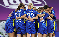 Chelsea players in a huddle prior to the start of the second half during the UEFA Women's Champions League final, at Gamla Ullevi, Gothenburg. Picture date: Sunday May 16, 2021.