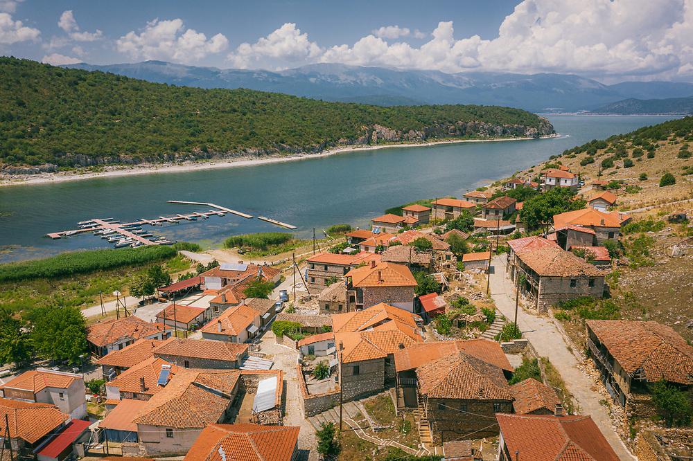 Psarades village on the shore of Prespa Lake, Greece