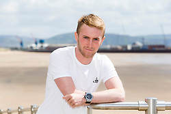 Falkirk's Craig Sibbald outside the Marriott hotel in Swansea. Falkirk FC training down south before next weeks Cup Final.