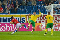 TEPLICE, CZECH REPUBLIC - SATURDAY, SEPTEMBER 2nd , 2006: Wales' James Collins and Czech Republic's Marek Kulic during the opening UEFA Euro 2008 Group D qualifying match at the Na Stinadlech Stadium. (Pic by David Rawcliffe/Propaganda)