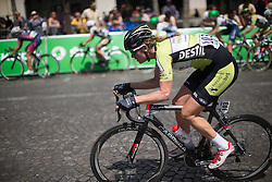 Vera Koedooder (NED) of Parkhotel Valkenburg Cycling Team attackes during the La Course, a 89 km road race in Paris on July 24, 2016 in France.