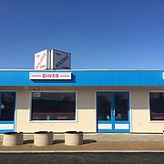 Holiday Diner, Norfolk, UK. Blue sky, Blue building, 1950's, Architecture, Exterior