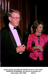 Left & centre, the EARL OF EUSTON and his sister LADY HENRIETTA ST.GEORGE, at a dinner in London on November 19th 1996.LTN 61