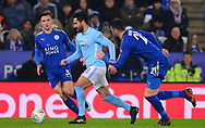 Ilkay Gundogan of Manchester City in action with Ben Chilwell of Leicester and Vicente Iborra of Leicester city chasing .Carabao Cup quarter final match, Leicester City v Manchester City at the King Power Stadium in Leicester, Leicestershire on Tuesday 19th December 2017.<br /> pic by Bradley Collyer, Andrew Orchard sports photography.