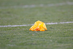 A yellow penalty flag on the ground during the NFL game between the Philadelphia Eagles and the San Diego Chargers on November 15th 2009. At Qualcomm Stadium in San Diego, California. (Photo By Brian Garfinkel)