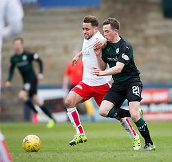 Falkirk's Tom Taiwo and Raith Rovers Louis Longridge. <br /> Raith Rovers 2 v 2 Falkirk, Scottish Championship game played 23/4/2016 at Stark's Park.