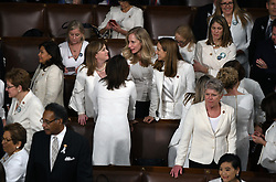 House Democratic women are dressed in white for President Trump 's State of the Union address to a joint session of the U.S. Congress on Capitol Hill February 5, 2019 in Washington, DC. DC.Photo by Olivier Douliery/ABACAPRESS.COM