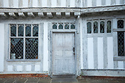 Ancient architecture of Guildhall of Corpus Christi, Grade I listed timber-framed property with leaded light windows in quaint historic town of Lavenham in Suffolk, England, UK