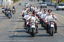 The Seattle Cossacks ride in formation from Destination Harley-Davidson to the finish at the Lemay Museum where they performed during Stage 16 (142 miles) of the Motorcycle Cannonball Cross-Country Endurance Run, which on this day ran from Yakima to Tacoma, WA, USA. Sunday, September 21, 2014.  Photography ©2014 Michael Lichter.