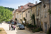 Tourists in historic town of St Jean de Cole, France