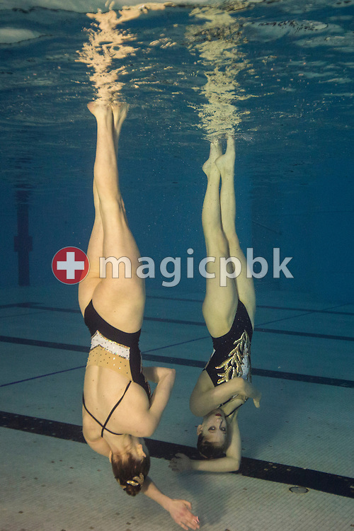 Vivienne KOCH and Lara MECHNIG of Switzerland perform in the in the Duet Free Final during the Swiss Synchronized (sychronised) Swimming Championships held at the lintharena in Naefels, Switzerland, Sunday, April 17, 2016. (Photo by Patrick B. Kraemer / MAGICPBK)