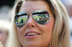 29.06.2011, Wimbledon, London, GBR, ATP World Tour, Wimbledon Tennis Championships, im Bild Centre Court reflected in a spectator's mirrored sunglasses during the Gentlemen's Singles Quarter-Final match on day nine of the Wimbledon Lawn Tennis Championships at the All England Lawn Tennis and Croquet Club. EXPA Pictures © 2011, PhotoCredit: EXPA/ Propaganda/ David Rawcliffe +++++ ATTENTION - OUT OF ENGLAND/UK +++++