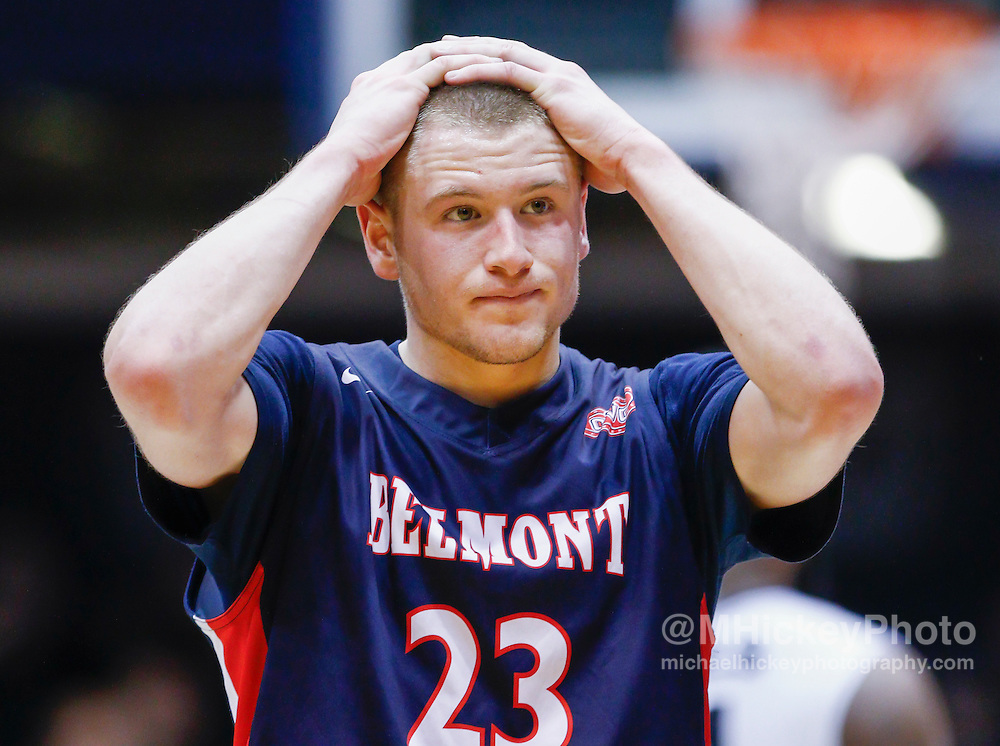 INDIANAPOLIS, IN - DECEMBER 28: Craig Bradshaw #23 of the Belmont Bruins reacts at the conclusion of the game against the Butler Bulldogs at Hinkle Fieldhouse on December 28, 2014 in Indianapolis, Indiana. (Photo by Michael Hickey/Getty Images) *** Local Caption *** Craig Bradshaw
