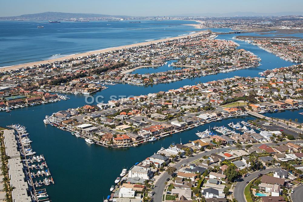 Aerial Stock Photo of Sunset Beach Community in Huntington Beach Looking Towards Long Beach California