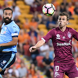 BRISBANE, AUSTRALIA - NOVEMBER 19: Brett Holman of the Roar heads the ball during the round 7 Hyundai A-League match between the Brisbane Roar and Sydney FC at Suncorp Stadium on November 19, 2016 in Brisbane, Australia. (Photo by Patrick Kearney/Brisbane Roar)
