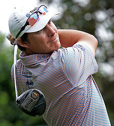 May 3, 2019 - Charlotte, NC, USA - Joel Dahmen watches his drive from the 16th tee box during second round action of the Wells Fargo Championship at Quail Hollow Club Friday, May 3, 2019 in Charlotte, N.C. Dahmen finished the round at -10. (Credit Image: © TNS via ZUMA Wire)