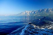 View from the sea of the Biokovo National Park, part of the Dinaric Alps. Near Makarska, Croatia