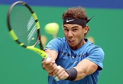 SHANGHAI, Oct. 13, 2017  Spain's Rafael Nadal hits a return during the singles quarterfinal match against Bulgaria's Grigor Dimitrov at 2017 ATP Shanghai Masters tennis tournament in Shanghai, east China, on Oct. 13, 2017. (Credit Image: © Fan Jun/Xinhua via ZUMA Wire)