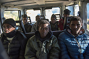 November 8, 2016,  Breil-sur-Roya, French Alpes, France. Eritrean refugees in a van to be transported over the mountains to a safe train station. By doing so the driver, Sylvain, , 67 years, a retired school teacher, risks police arrests and a trial.<br /> <br /> 8 novembre 2016, Breil-sur-Roya, Alpes françaises, France. Des réfugiés érythréens dans une camionnette pour être transportés à travers la montagne vers une gare jugée sûre. Ce faisant, le conducteur, Sylvain, 67 ans, prof de math à la retraite, risque d'être arrêté et jugé.