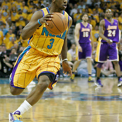 April 22, 2011; New Orleans, LA, USA; New Orleans Hornets point guard Chris Paul (3) against the Los Angeles Lakers during the first half in game three of the first round of the 2011 NBA playoffs at the New Orleans Arena. The Lakers defeated the Hornets 100-86.   Mandatory Credit: Derick E. Hingle