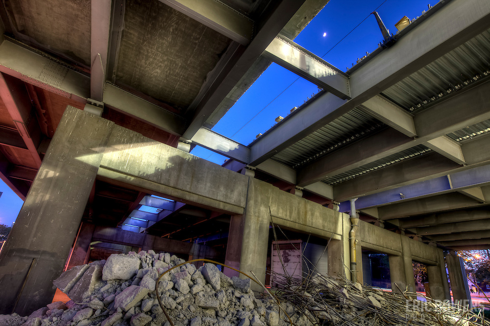 The scene underneath I-35 near Kansas City's downtown loop as it undergoes major repairs by Missouri Department of Transportation (MODOT).