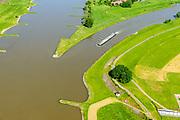 Nederland, Gelderland, Arnhem, 29-05-2019; IJsselkop, splitsing Nederrijn in Nederrijn naar Arnhem en IJssel (rechts). Naast de IJsselkop ligt de Hondsbroeksche Pleij, voormalige uiterwaard, nu een van de Ruimte voor de Rivier lokaties.  Regelwerk draagt zorg voor de verdeling van het rivier water bij hoogwater.<br /> IJsselkop, junction Nederrijn in Nederrijn to Arnhem and IJssel (right). Next to the IJsselkop is the Hondsbroeksche Pleij, former flood plain, now one of the Room for the River locations. Highwater arrangment  is responsible for the distribution of river water at high water.<br /> <br /> luchtfoto (toeslag op standard tarieven);<br /> aerial photo (additional fee required);<br /> copyright foto/photo Siebe Swart