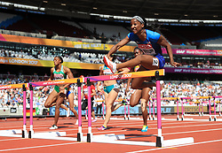 USA's Kendra Harrison competes in the Women's 100m Hurdles Heats during day eight of the 2017 IAAF World Championships at the London Stadium.
