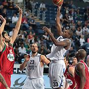Anadolu Efes's Oliver Lafayette (2ndR) during their Turkish Basketball League Play Off match Anadolu Efes between Pinar Karsiyakaat Sinan Erdem Arena in Istanbul, Turkey, Sunday, May 06, 2012. Photo by TURKPIX