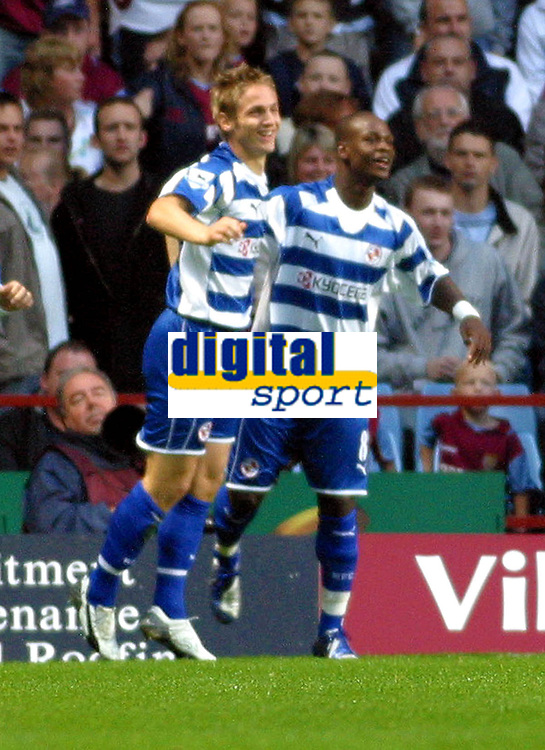 Photo: Dave Linney.<br />Aston Villa v Reading. The Barclays Premiership. 23/08/2006.Readings Kevin Doyle(L) celebrates after making it 1-0 to Reading