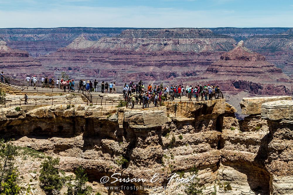 Tourists view Grand Canyon at Grand Canyon National Park, Arizona