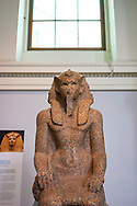London. England. British Museum. Statue of Egyptian Pharaoh Sobekemsaf I wearing a Nemes, from Karnak (Thebes), Egypt. 17th Dynasty, about 1600 BC