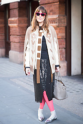 May Fellowes, wearing Marc Jacobs skirt and Prada shoes during London Fashion Week Autumn/Winter 2017 in London.  Picture date: Friday 17th February 2017. Photo credit should read: DavidJensen/EMPICS Entertainment