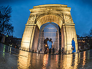 Washington Square Park marble Roman triumphal arch is on Christmas in Manhattan of New York City.