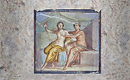 Roman Erotic Fresco from Pompeii depicting Mars caressing Venus, Naples National Archaeological Museum - 1st century AD .<br /> <br /> If you prefer to buy from our ALAMY PHOTO LIBRARY  Collection visit : https://www.alamy.com/portfolio/paul-williams-funkystock - Scroll down and type - Roman Art Erotic  - into LOWER search box. {TIP - Refine search by adding a background colour as well}.<br /> <br /> Visit our ROMAN ART & HISTORIC SITES PHOTO COLLECTIONS for more photos to download or buy as wall art prints https://funkystock.photoshelter.com/gallery-collection/The-Romans-Art-Artefacts-Antiquities-Historic-Sites-Pictures-Images/C0000r2uLJJo9_s0