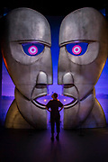 Division Bell heads - The Pink Floyd Exhibition: Their Mortal Remains at the Victoria &Albert Museum. The exhibition is an immersive, experimental journey through Pink Floyd's world, from high tech audio-visual events, objects, surreal landscapes, and the culture explosions that evolve throughout the exhibition. Displaying over 350 objects and artefacts,  this retrospective marks the 50th anniversary of the band's first album, The Piper At The Gates Of Dawn and debut single 'Arnold Layne'